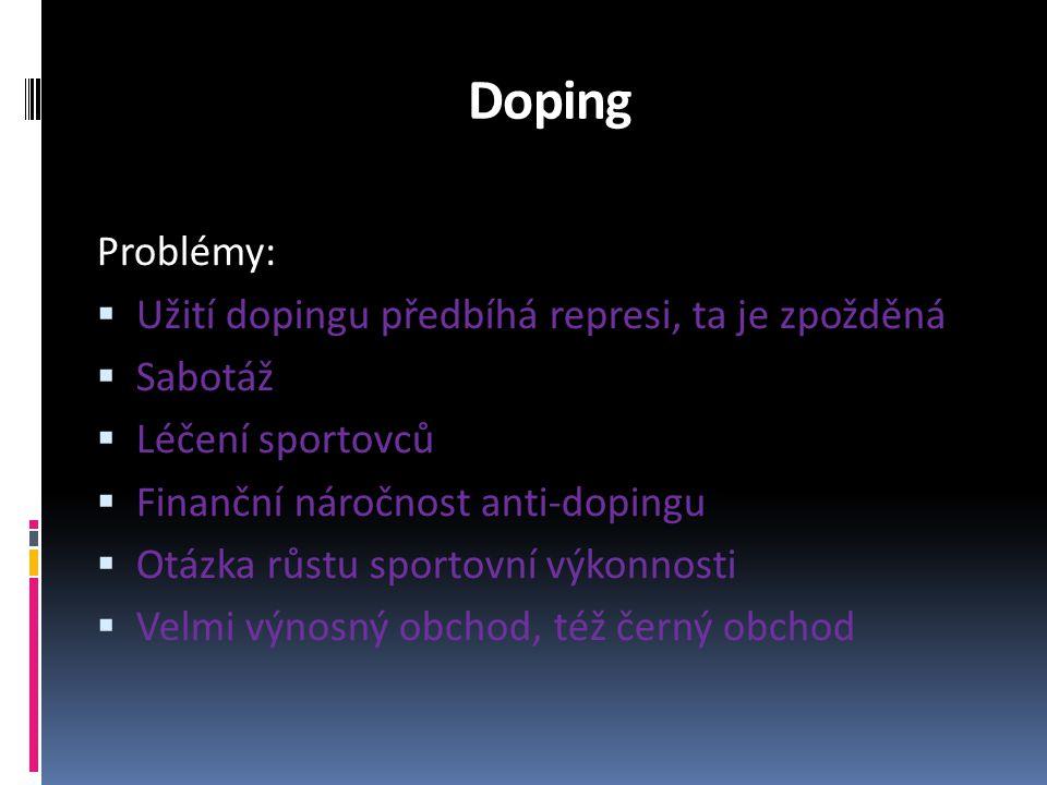 Doping Problémy: Užití dopingu předbíhá represi, ta je zpožděná