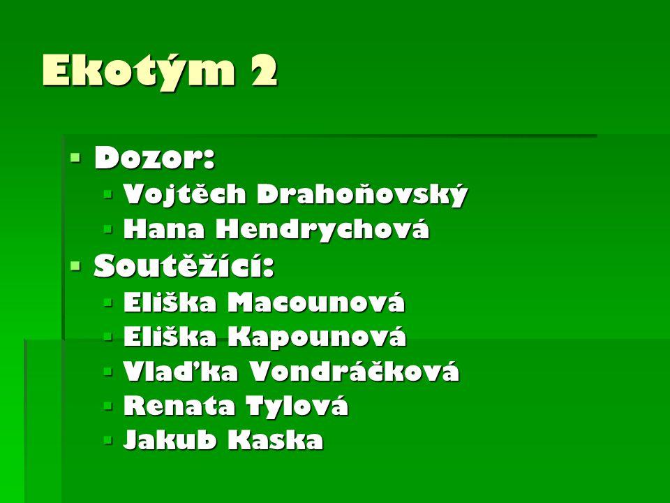 Ekotým 2 Dozor: Soutěžící: Vojtěch Drahoňovský Hana Hendrychová