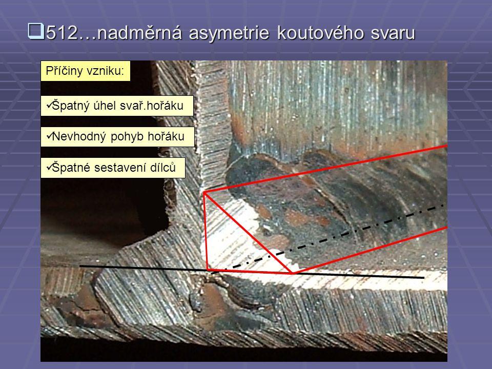 512…nadměrná asymetrie koutového svaru