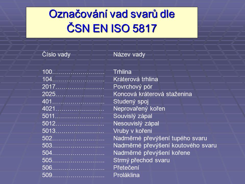Označování vad svarů dle ČSN EN ISO 5817