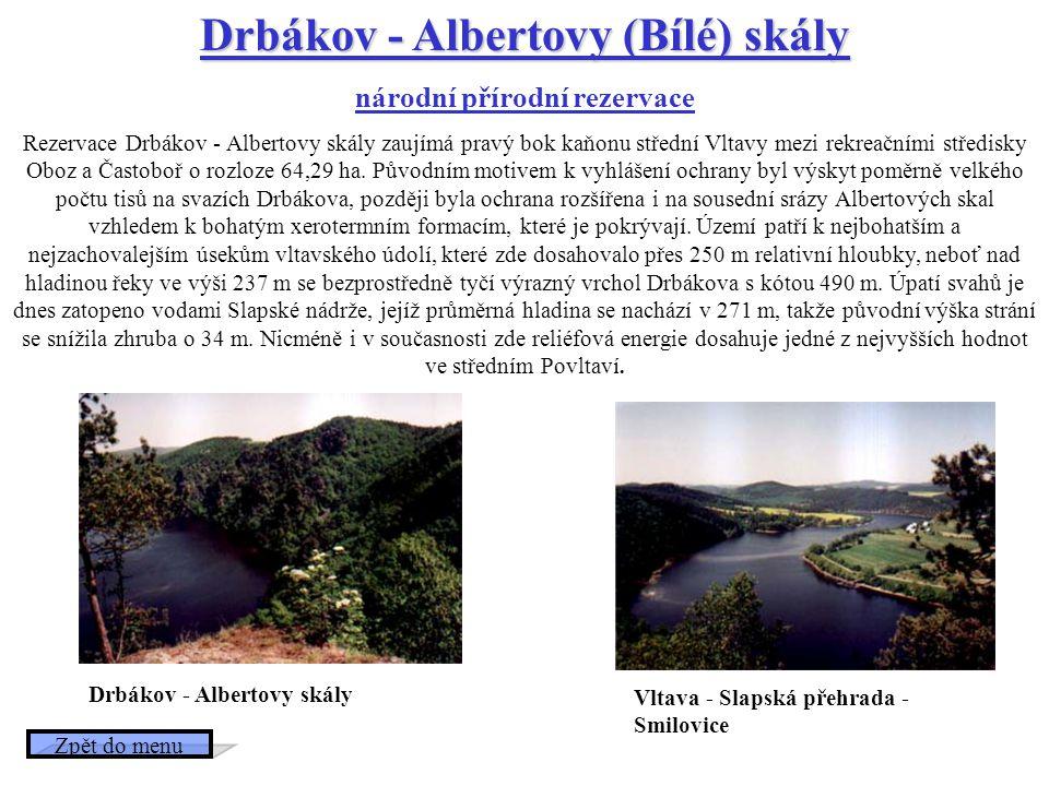 Drbákov - Albertovy (Bílé) skály národní přírodní rezervace