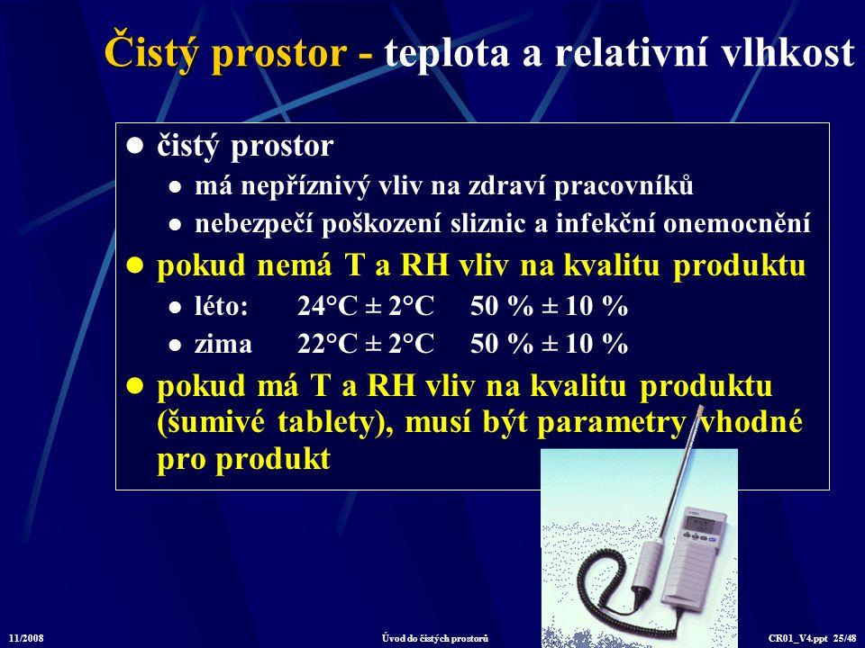Čistý prostor - teplota a relativní vlhkost