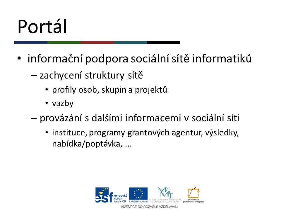 Portál informační podpora sociální sítě informatiků