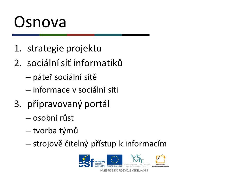 Osnova strategie projektu sociální síť informatiků připravovaný portál