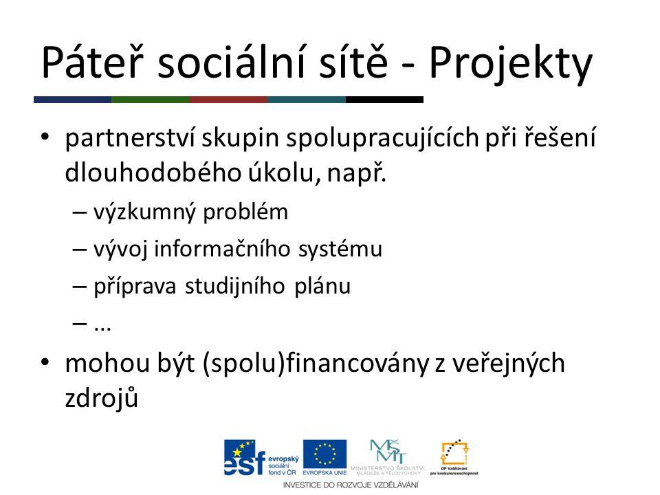 Páteř sociální sítě - Projekty