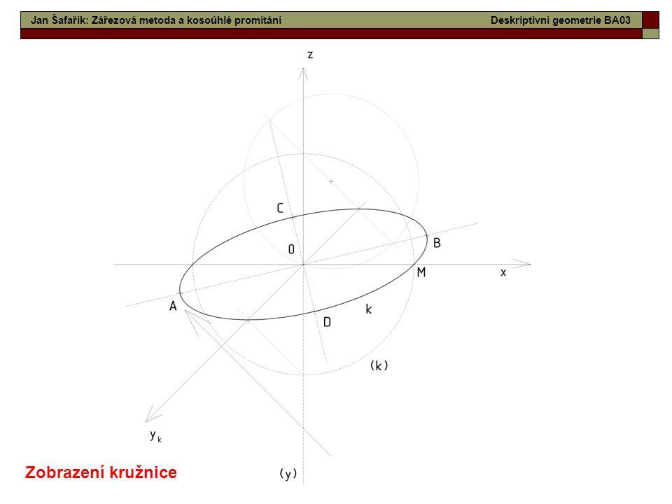 Zobrazení kružnice Jan Šafařík: Zářezová metoda a kosoúhlé promítání
