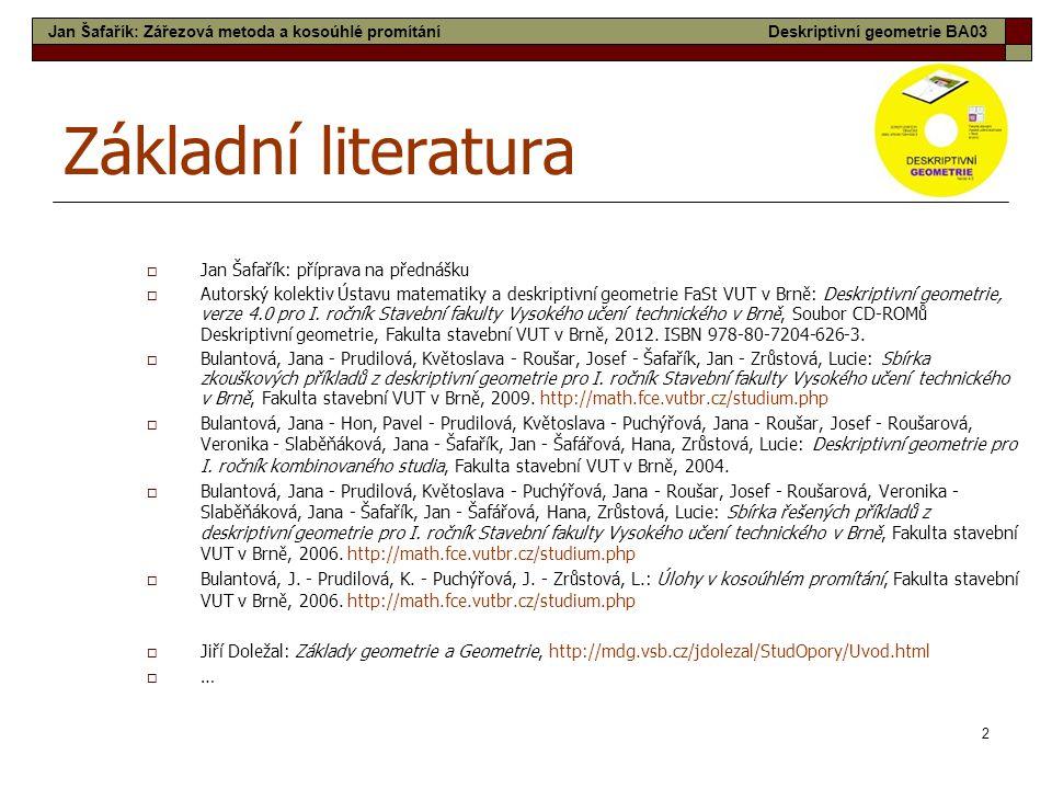 Základní literatura Jan Šafařík: příprava na přednášku