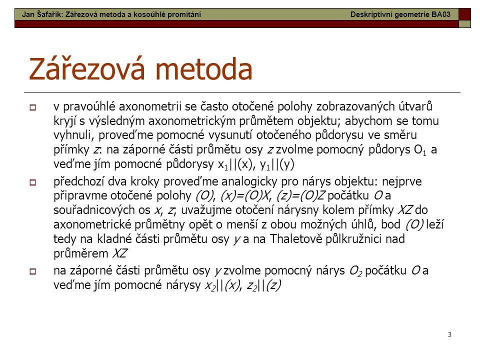 Jan Šafařík: Zářezová metoda a kosoúhlé promítání