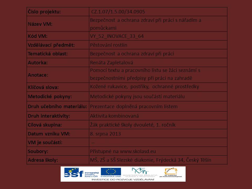Číslo projektu: CZ.1.07/1.5.00/34.0905. Název VM: Bezpečnost a ochrana zdraví při práci s nářadím a pomůckami.
