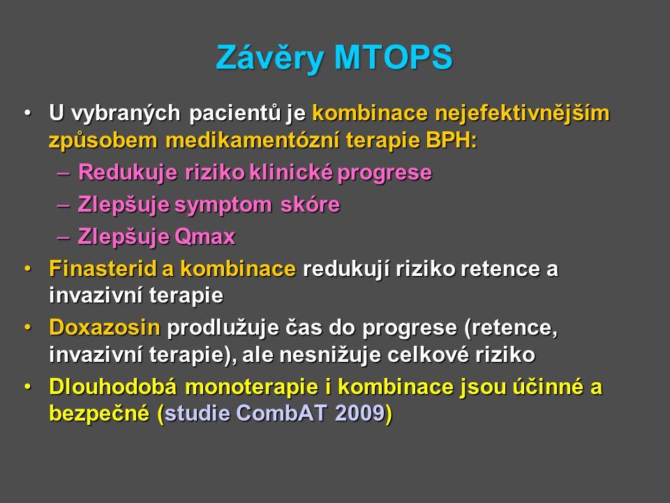 Závěry MTOPS U vybraných pacientů je kombinace nejefektivnějším způsobem medikamentózní terapie BPH: