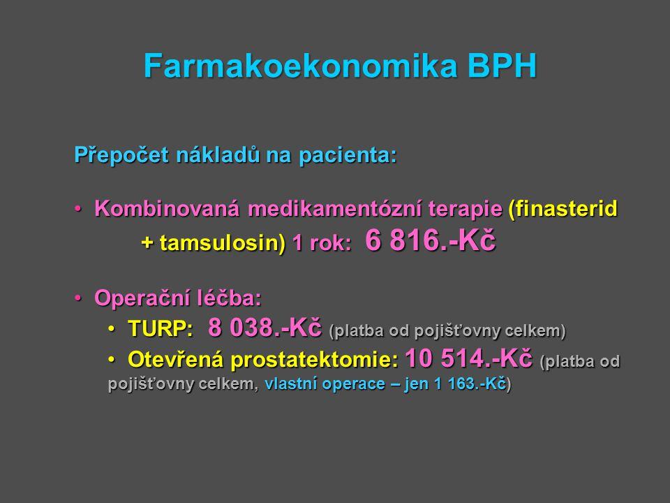 Farmakoekonomika BPH Přepočet nákladů na pacienta: