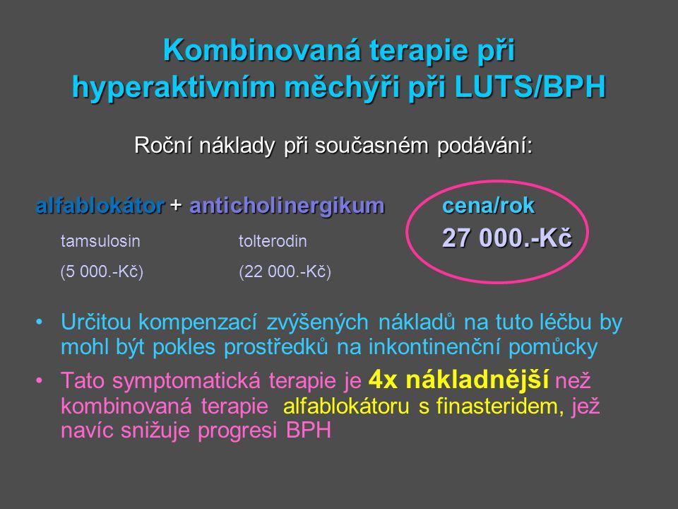 Kombinovaná terapie při hyperaktivním měchýři při LUTS/BPH