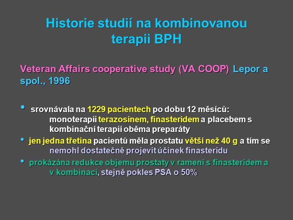 Historie studií na kombinovanou terapii BPH