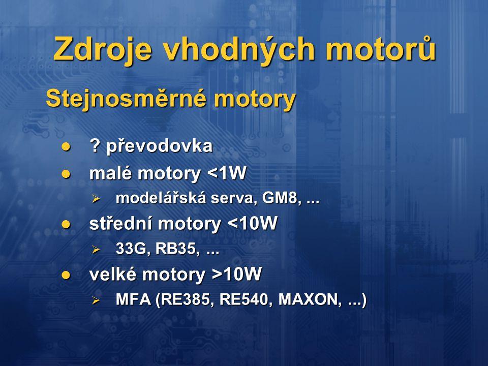 Zdroje vhodných motorů
