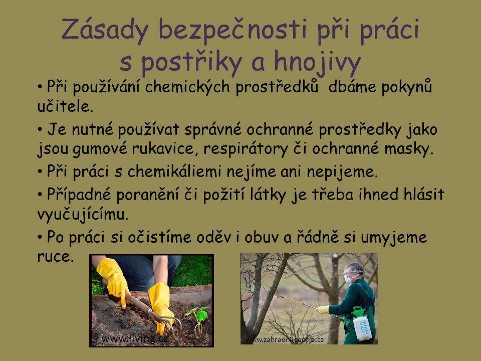 Zásady bezpečnosti při práci s postřiky a hnojivy