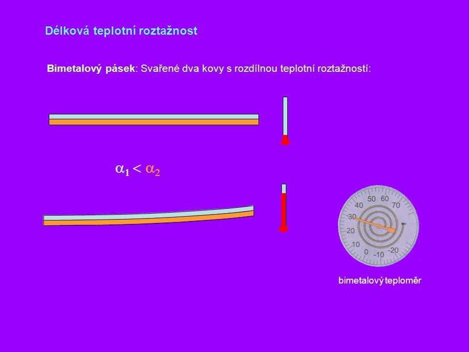a1 < a2 Délková teplotní roztažnost