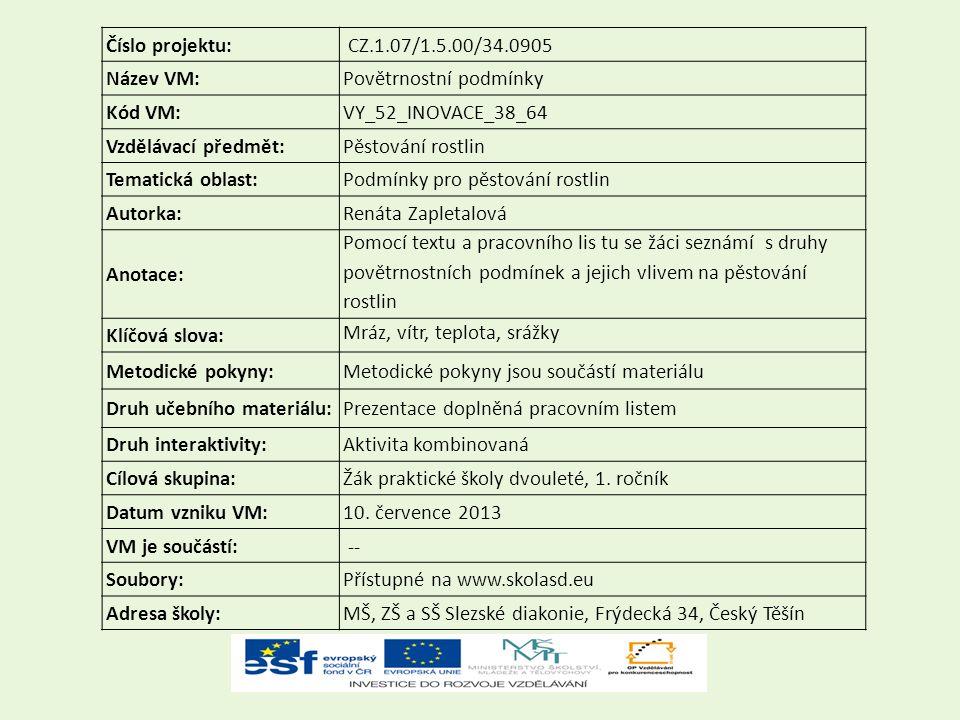 Číslo projektu: CZ.1.07/1.5.00/34.0905. Název VM: Povětrnostní podmínky. Kód VM: VY_52_INOVACE_38_64.
