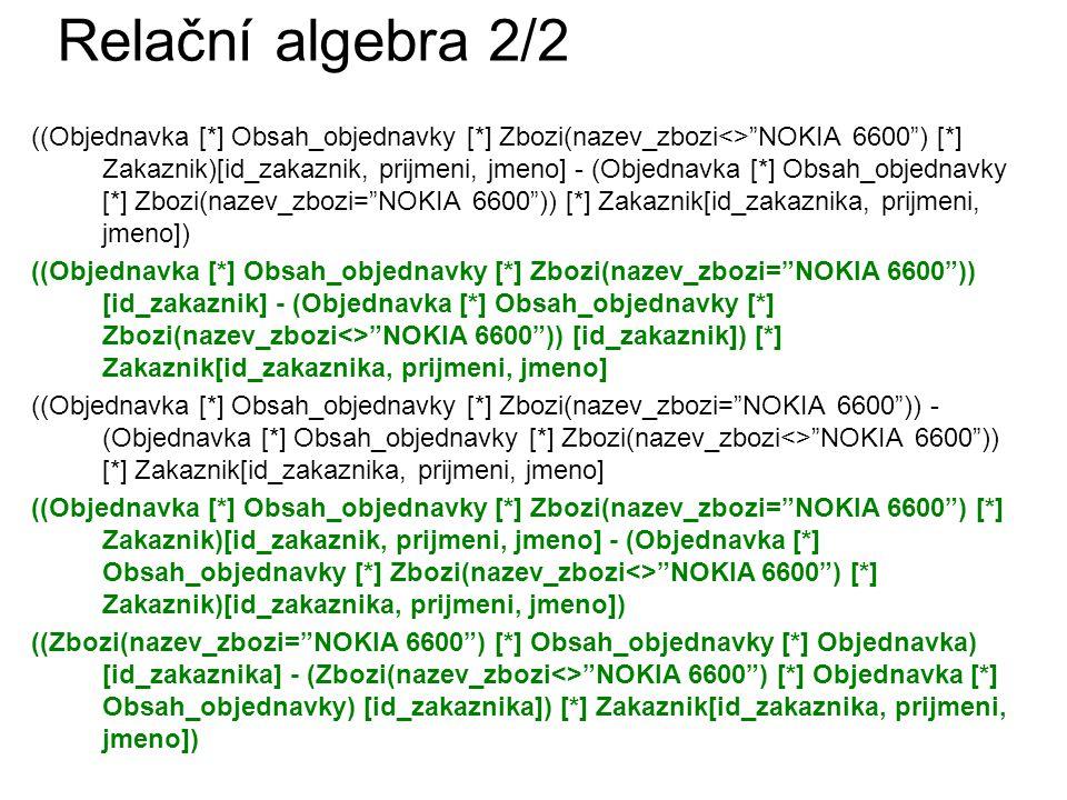 Relační algebra 2/2