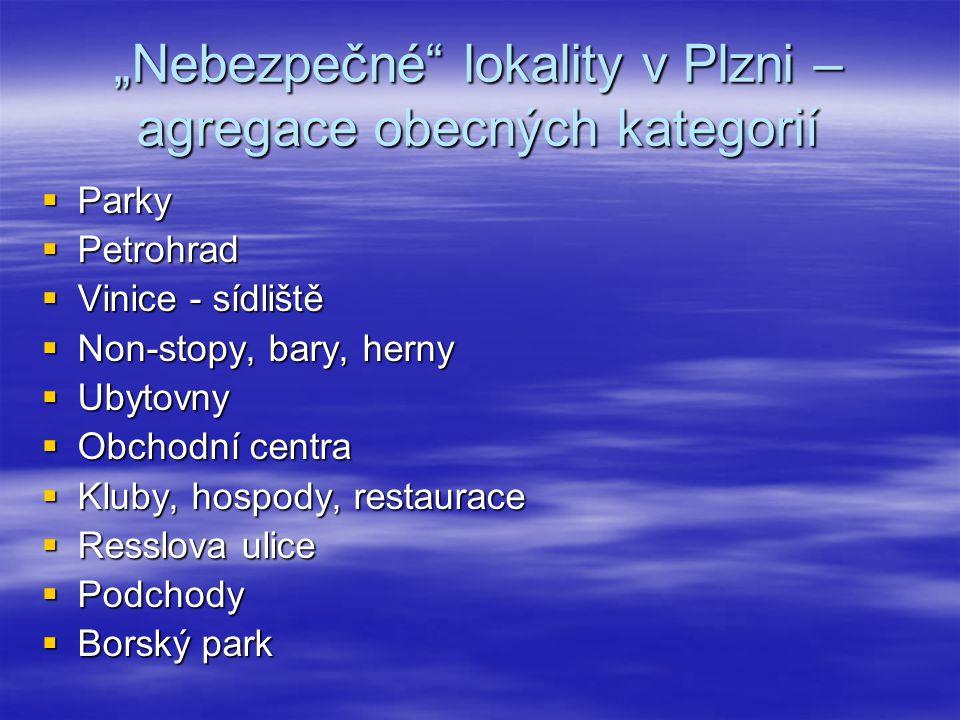 """""""Nebezpečné lokality v Plzni – agregace obecných kategorií"""