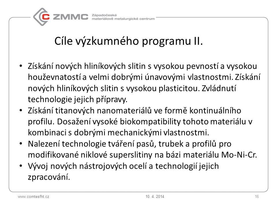 Cíle výzkumného programu II.