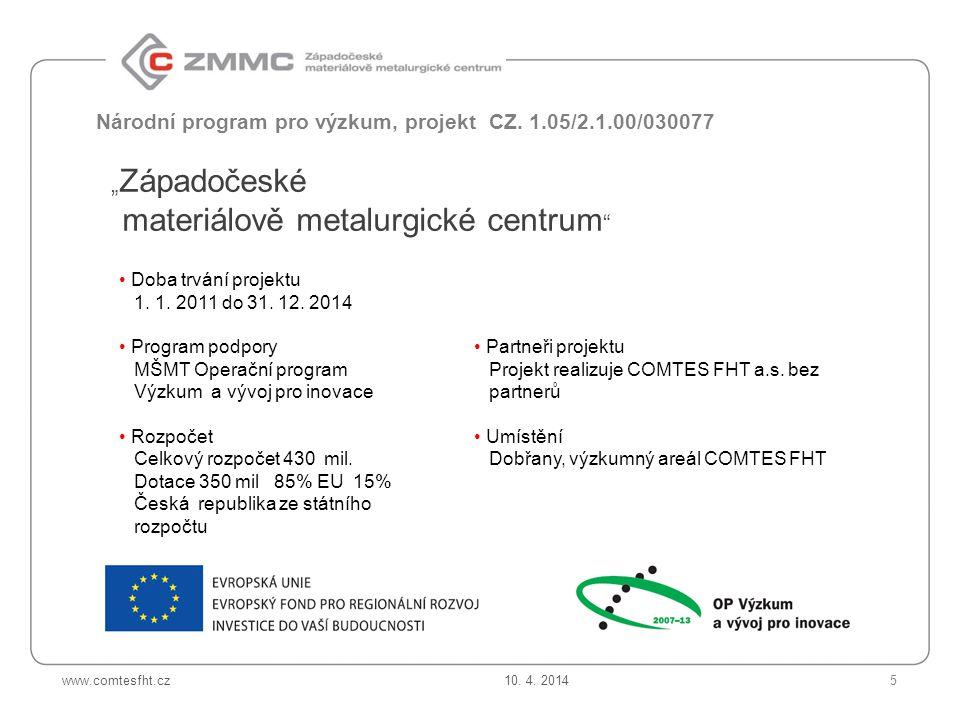 Národní program pro výzkum, projekt CZ. 1.05/2.1.00/030077