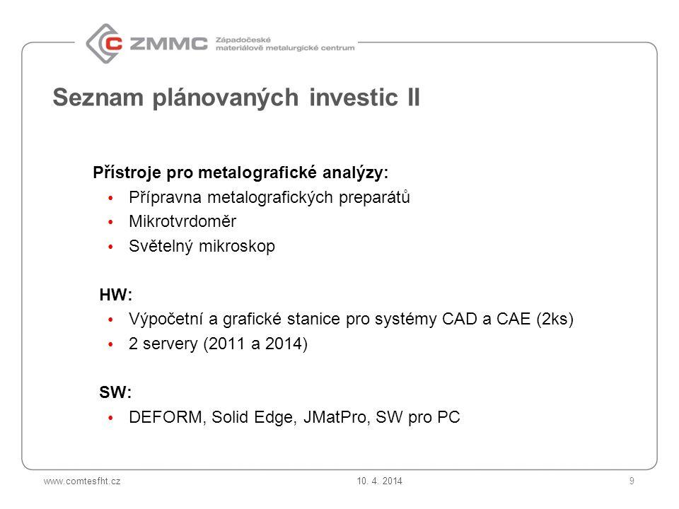 Seznam plánovaných investic II