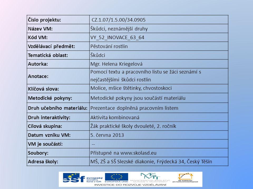 Číslo projektu: CZ.1.07/1.5.00/34.0905. Název VM: Škůdci, neznámější druhy. Kód VM: VY_52_INOVACE_63_64.