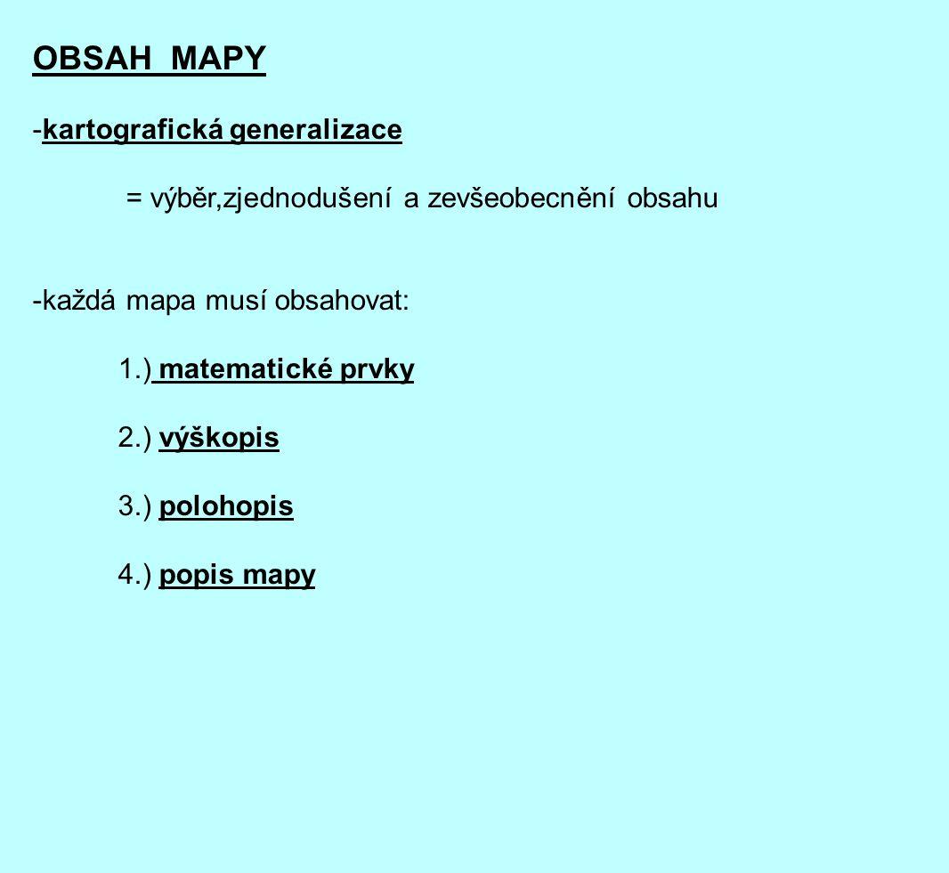 OBSAH MAPY kartografická generalizace