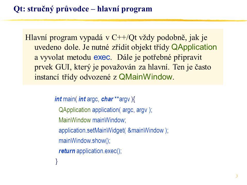 Qt: stručný průvodce – hlavní program