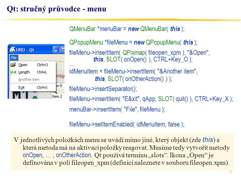 Qt: stručný průvodce - menu