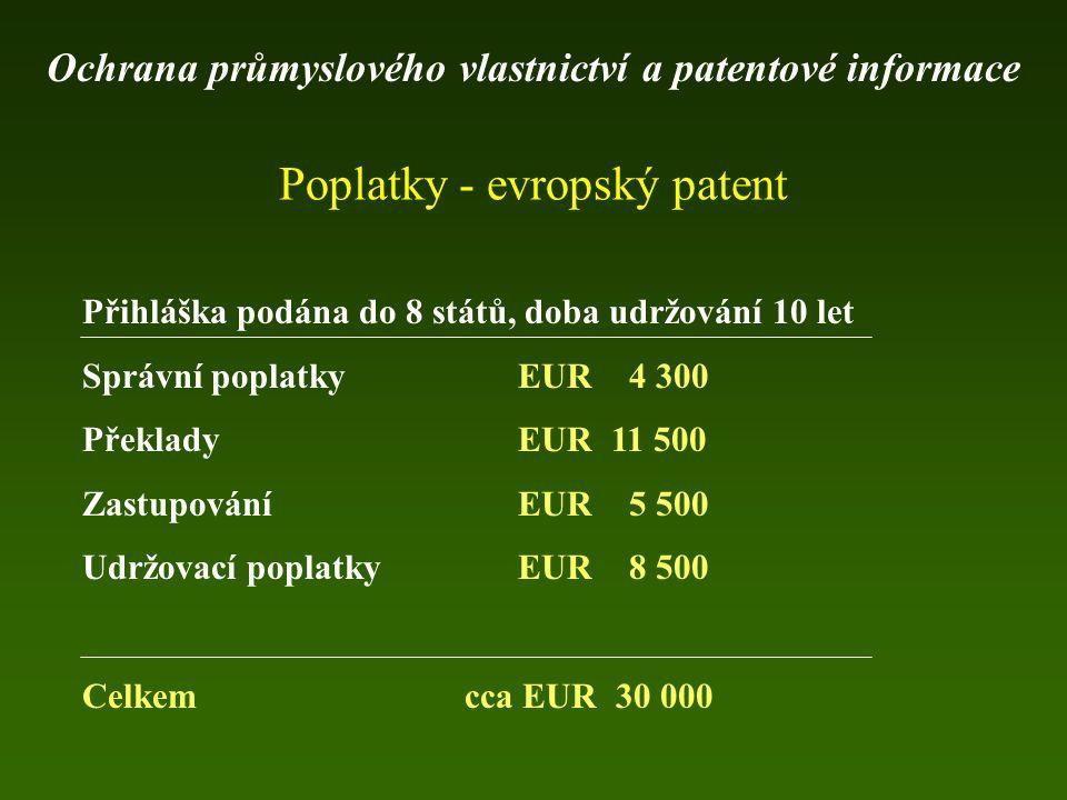 Poplatky - evropský patent