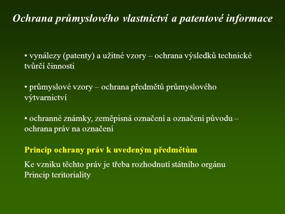 Ochrana průmyslového vlastnictví a patentové informace