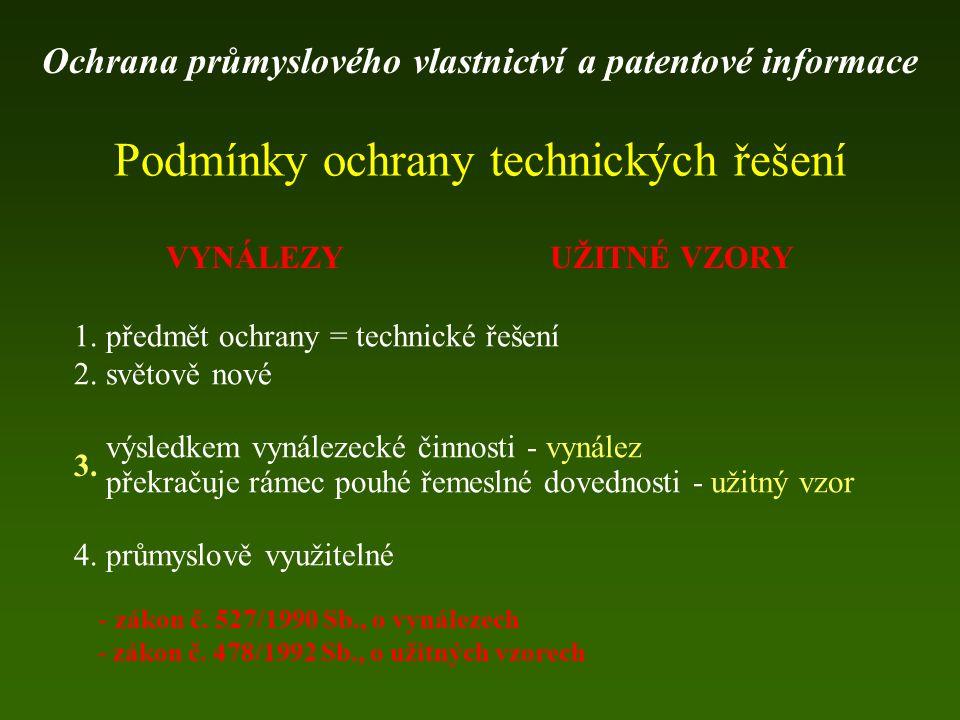 Podmínky ochrany technických řešení