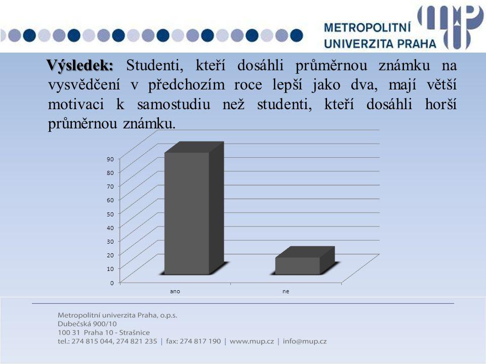 Výsledek: Studenti, kteří dosáhli průměrnou známku na vysvědčení v předchozím roce lepší jako dva, mají větší motivaci k samostudiu než studenti, kteří dosáhli horší průměrnou známku.