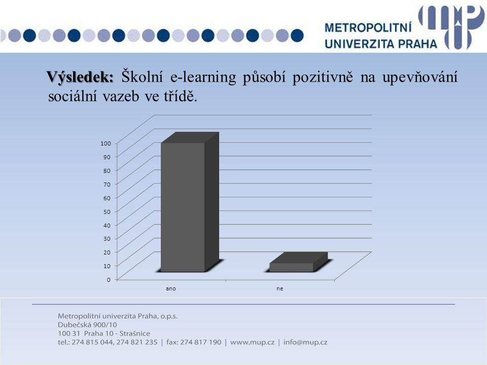 Výsledek: Školní e-learning působí pozitivně na upevňování sociální vazeb ve třídě.