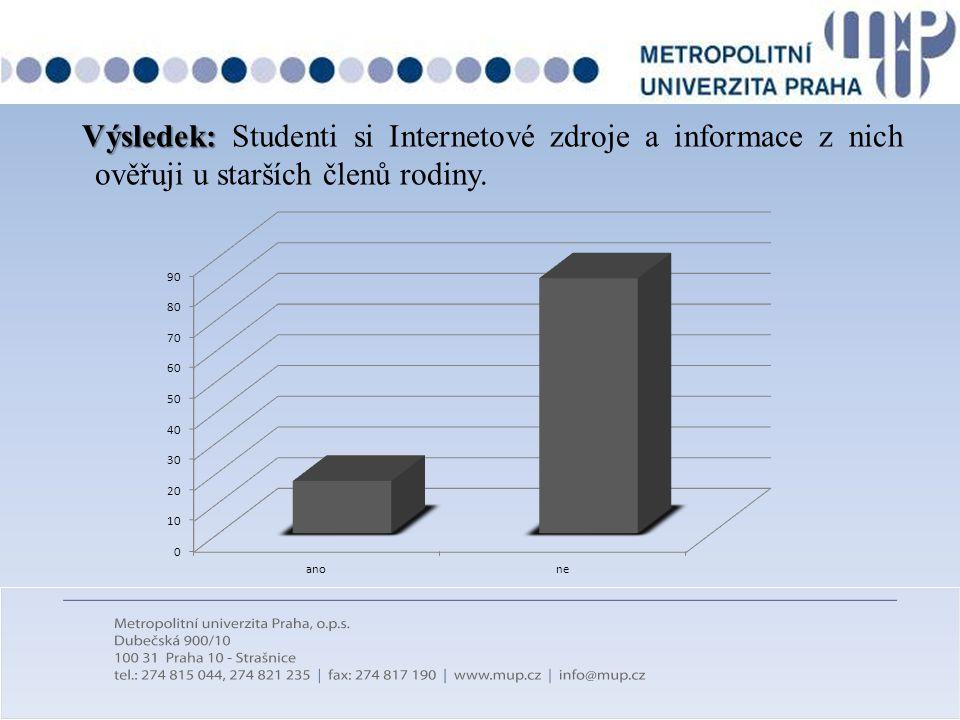 Výsledek: Studenti si Internetové zdroje a informace z nich ověřuji u starších členů rodiny.