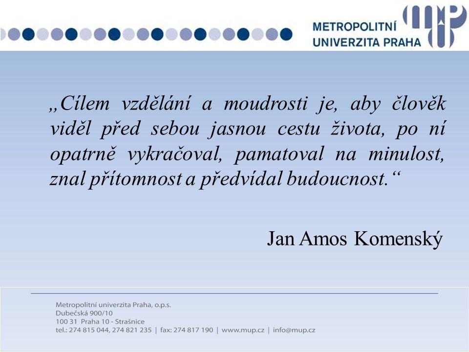 """""""Cílem vzdělání a moudrosti je, aby člověk viděl před sebou jasnou cestu života, po ní opatrně vykračoval, pamatoval na minulost, znal přítomnost a předvídal budoucnost. Jan Amos Komenský"""