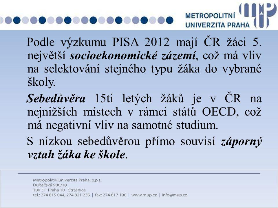 Podle výzkumu PISA 2012 mají ČR žáci 5