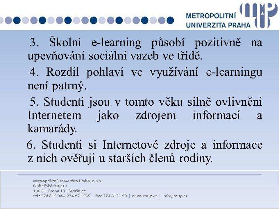 3. Školní e-learning působí pozitivně na upevňování sociální vazeb ve třídě.