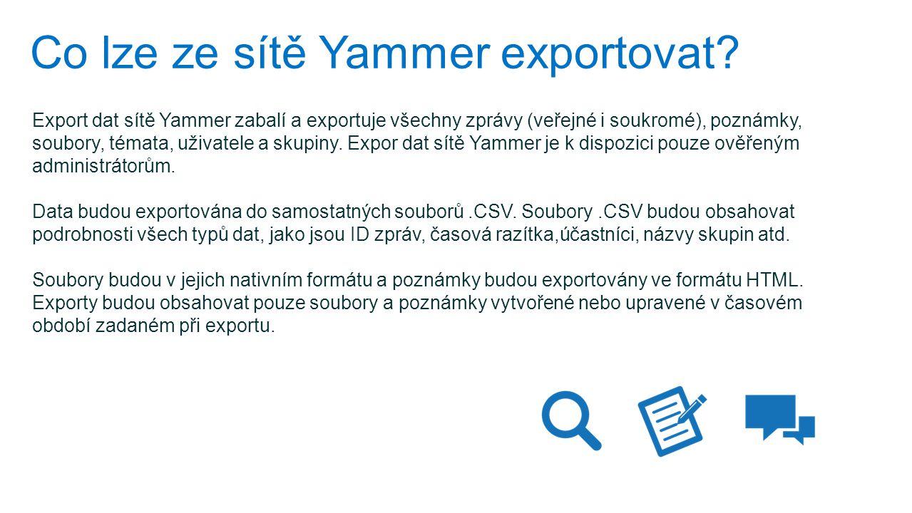 Co lze ze sítě Yammer exportovat