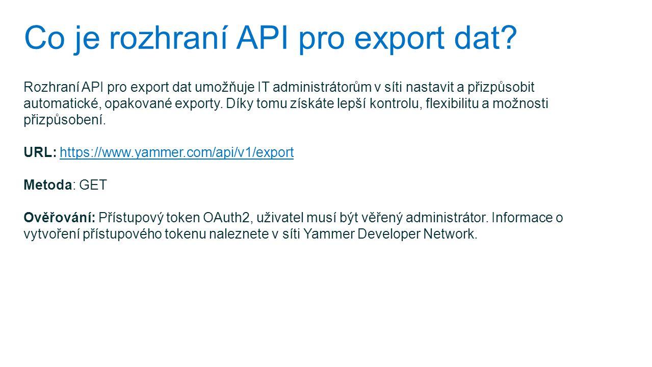 Co je rozhraní API pro export dat
