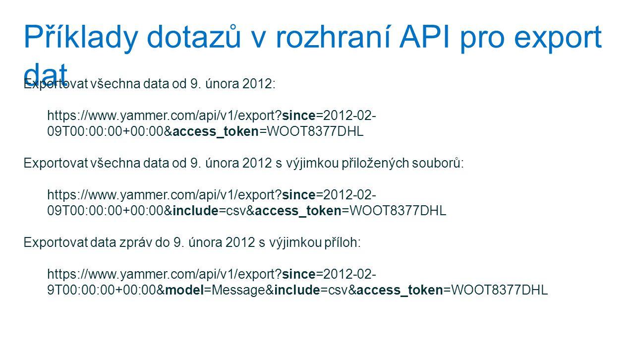 Příklady dotazů v rozhraní API pro export dat
