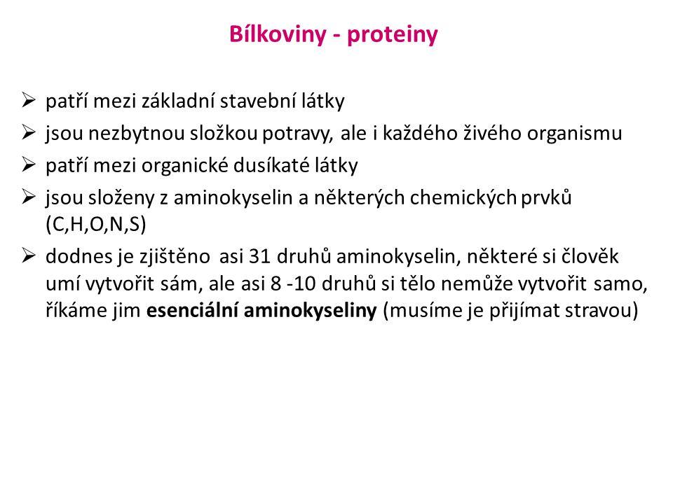 Bílkoviny - proteiny patří mezi základní stavební látky