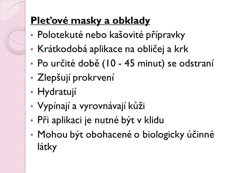 Pleťové masky a obklady