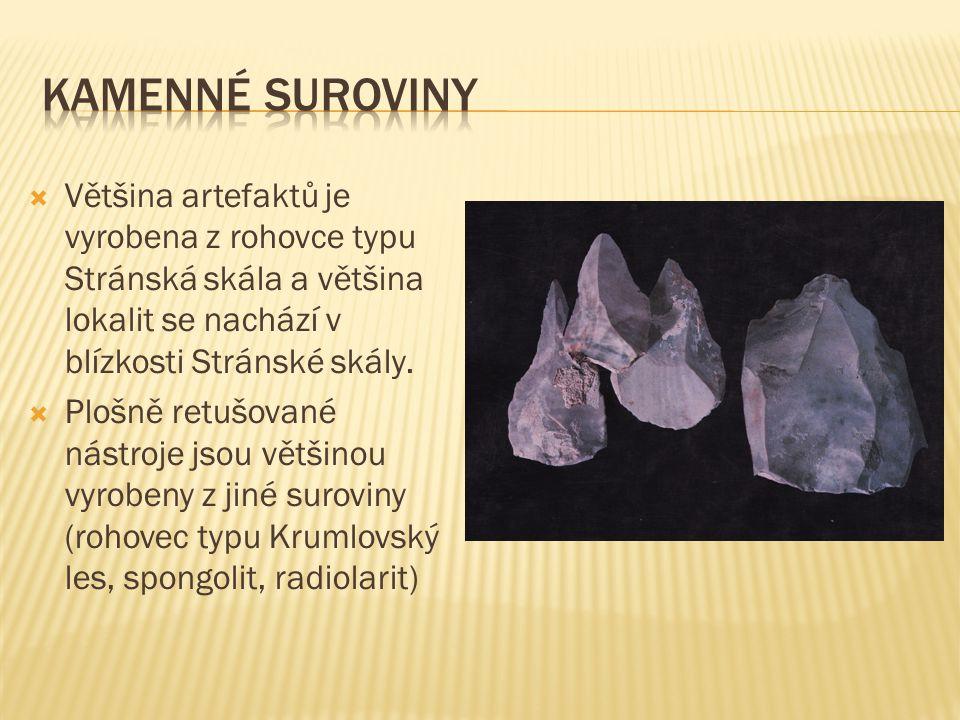 Kamenné suroviny Většina artefaktů je vyrobena z rohovce typu Stránská skála a většina lokalit se nachází v blízkosti Stránské skály.