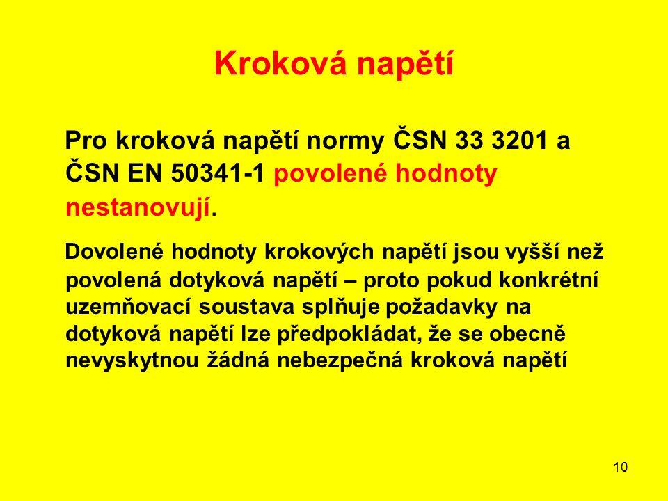 Kroková napětí Pro kroková napětí normy ČSN 33 3201 a ČSN EN 50341-1 povolené hodnoty nestanovují.