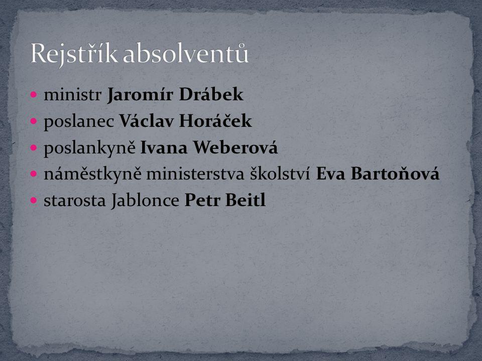 Rejstřík absolventů ministr Jaromír Drábek poslanec Václav Horáček
