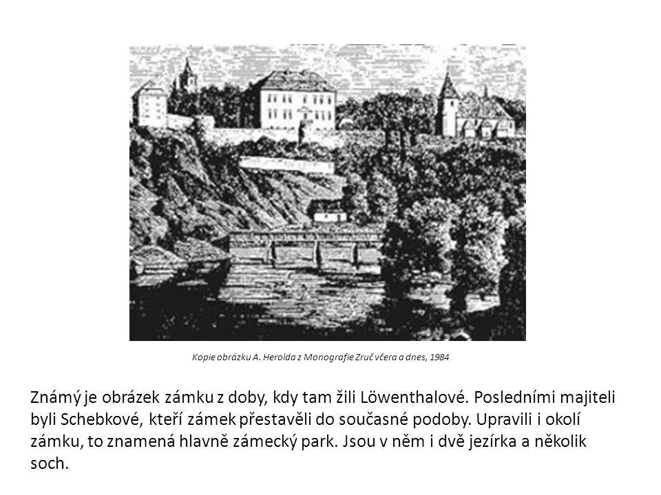 Kopie obrázku A. Herolda z Monografie Zruč včera a dnes, 1984