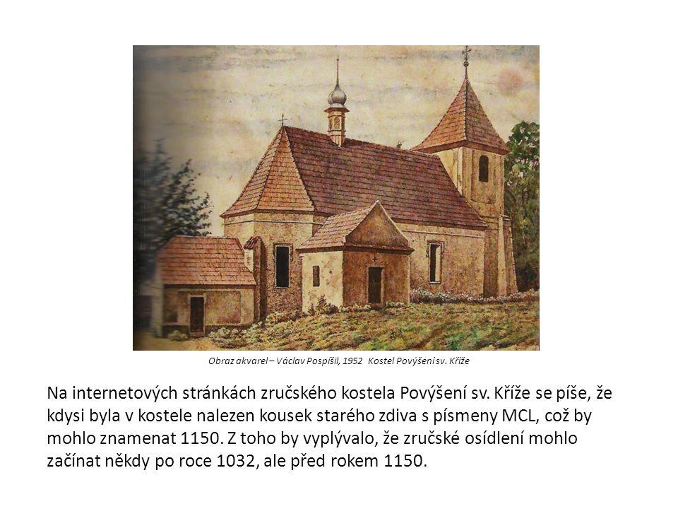 Obraz akvarel – Václav Pospíšil, 1952 Kostel Povýšení sv. Kříže