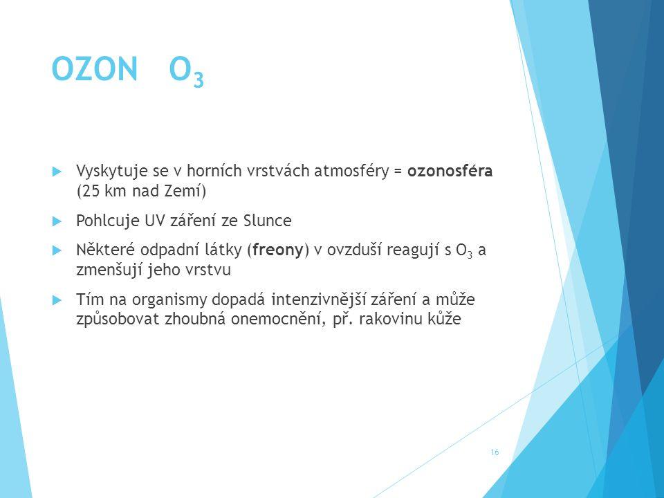 OZON O3 Vyskytuje se v horních vrstvách atmosféry = ozonosféra (25 km nad Zemí) Pohlcuje UV záření ze Slunce.